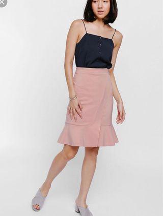 Love bonito Salja crossover ruffle hem knit skirt in blush pink (size S)
