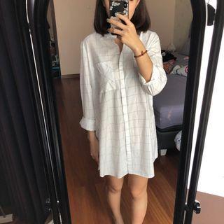 Stradivarius checkered shirtdress white #belanjabulanan