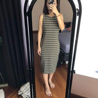 Cotton on green army bodycon stripe dress #belanjabulanan