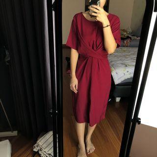 Red tie dress