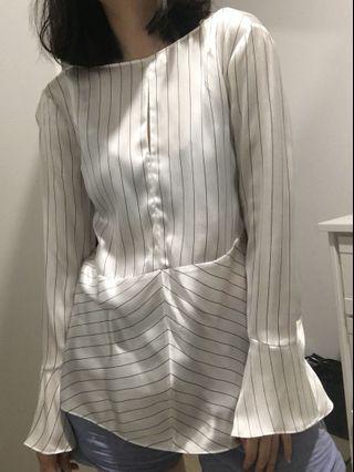 Massimo dutti stripe silk blouse