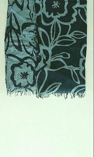 Light & Dark Blue Scarf / Shawl with Tropical Flower Motifs