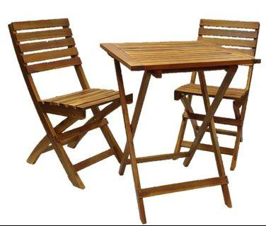 🚚 Acacia wood Bistro set - outdoor. Table + 2 chairs