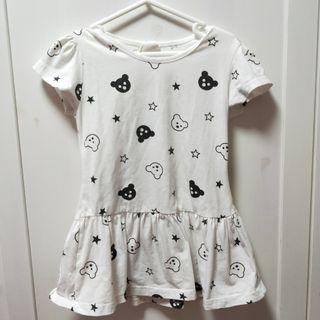 🚚 white bear star dress [C]