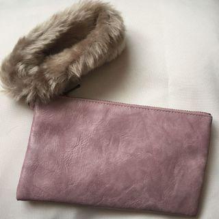 Furry long purse pouch