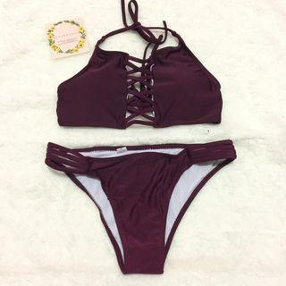 ROSE SWIMSUIT / BIKINI / BAJU RENANG / warna wine red