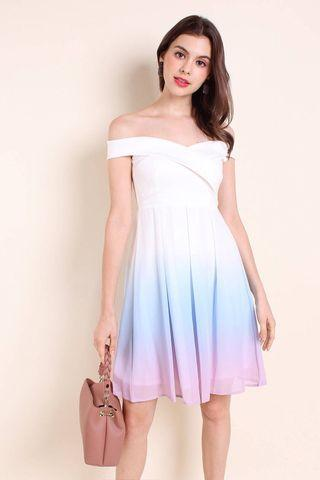 🚚 NEONMELLO ANGELFORD SWEETHEART OFF SHOULDER OMBRE DRESS IN PASTEL *brand new*