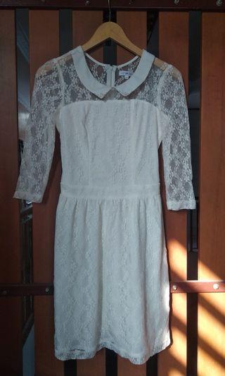 Dress Putih ld 86 bisa melar ampe 90