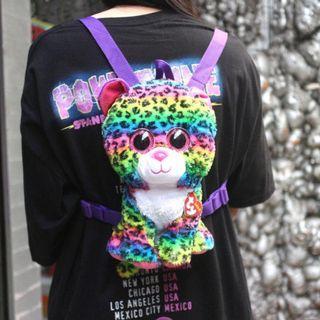 「TY 彩色 花豹 娃娃 後背包 高約28cm@公雞漢堡」