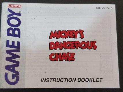 Mickey's Dangerous Chase 🇺🇸 GameBoy Manual