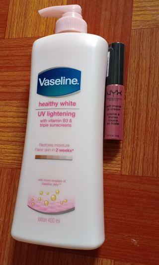 #belanjabulanan Free Ongkir Bundling Sale (Vaseline Healthy White + Nyx Soft Matte Lip Cream)