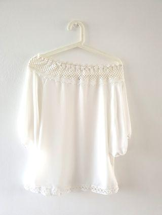 [UNUSED] WHITE CHIFFON LACE OFF SHOULDER TOP