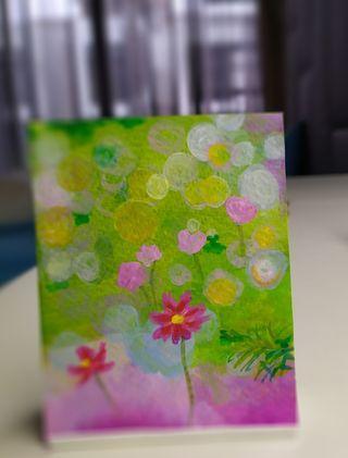 🚚 Mini handpainted acrylic painting with stand #mini_art #display