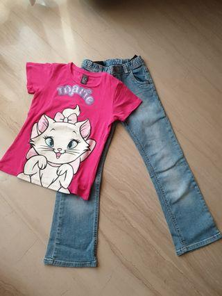 Set Zara top (tdk ori) + Mothercare jeans (ori)