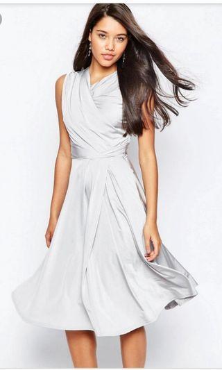 Brandnew ASOS Debutante Slinky Twist Front Midi Dress