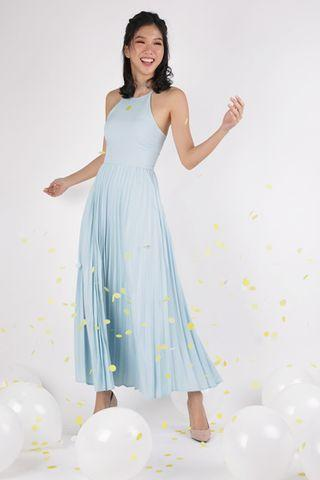 TTR The Tinsel Rack Abe Pleated Maxi Dress in Pastel Blue