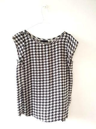 SEED HOUNDSTOOTH CHIFFON TOP
