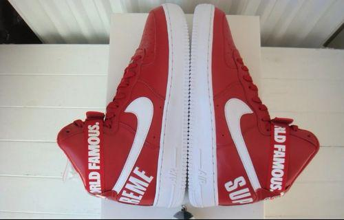 Nike x supreme Air force 1 high sp red world famous