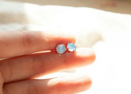 925 純銀藍玉髓耳環