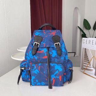 Burberry The Large Rucksack In Bird Print And Leather Painted Birds Backpacks