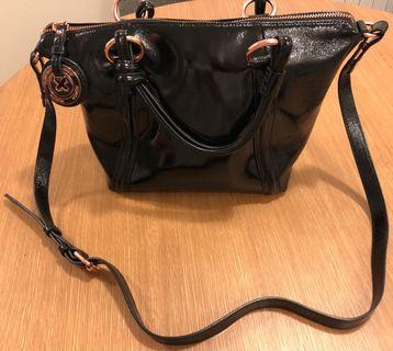 Mimco Top Handle Bag with Strap in Black & Rose Gold Hardware
