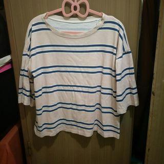 二手 粉藍條紋上衣