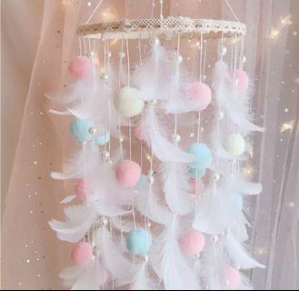 💖🌸LED夢幻羽毛吊燈🌸人手用心制作!💮