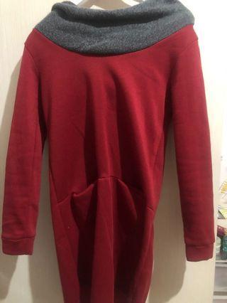 紅色長版帽T hoodie