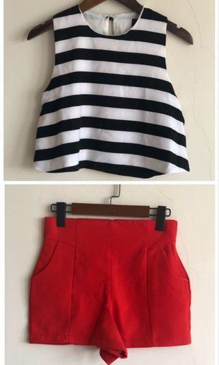 🚚 全新 黑白條紋 短版上衣+紅色短褲 韓貨店購入