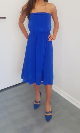 Sportsgirl electric blue silk dress size 8