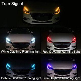 2 Pcs Slim Flexible DRL Switchback Sequential LED with Turn Signal