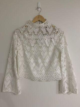 COOPER ST LACE LONG SLEEVE FLARE TOP 6 8