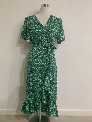 GREEN MAXI WRAP DRESS NEW S M L