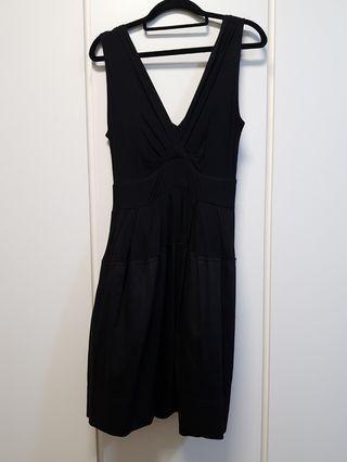 Mlphosis V neck Black dress with pleated skirt
