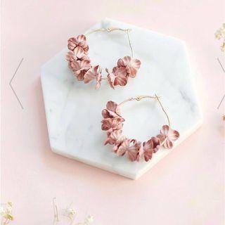Blossom Floral Hoop Statement Earrings in Pink