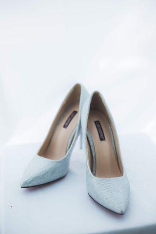 🆓Silver glitter high Heels/ wedding high heels