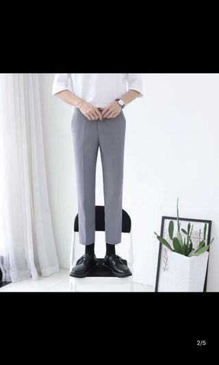 灰色 九分 西裝褲 韓版 韓式
