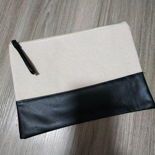 Canvas PU Leather Large Pouch