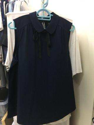 Office lady top / Navy Blue top