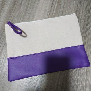 Purple Canvas Leather Pouch