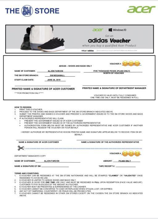 Adidas 5k voucher for any shoes or bags (Valid at The SM