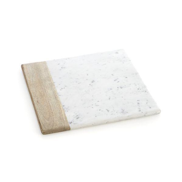 Crate & Barre Wood Marble Square Platter