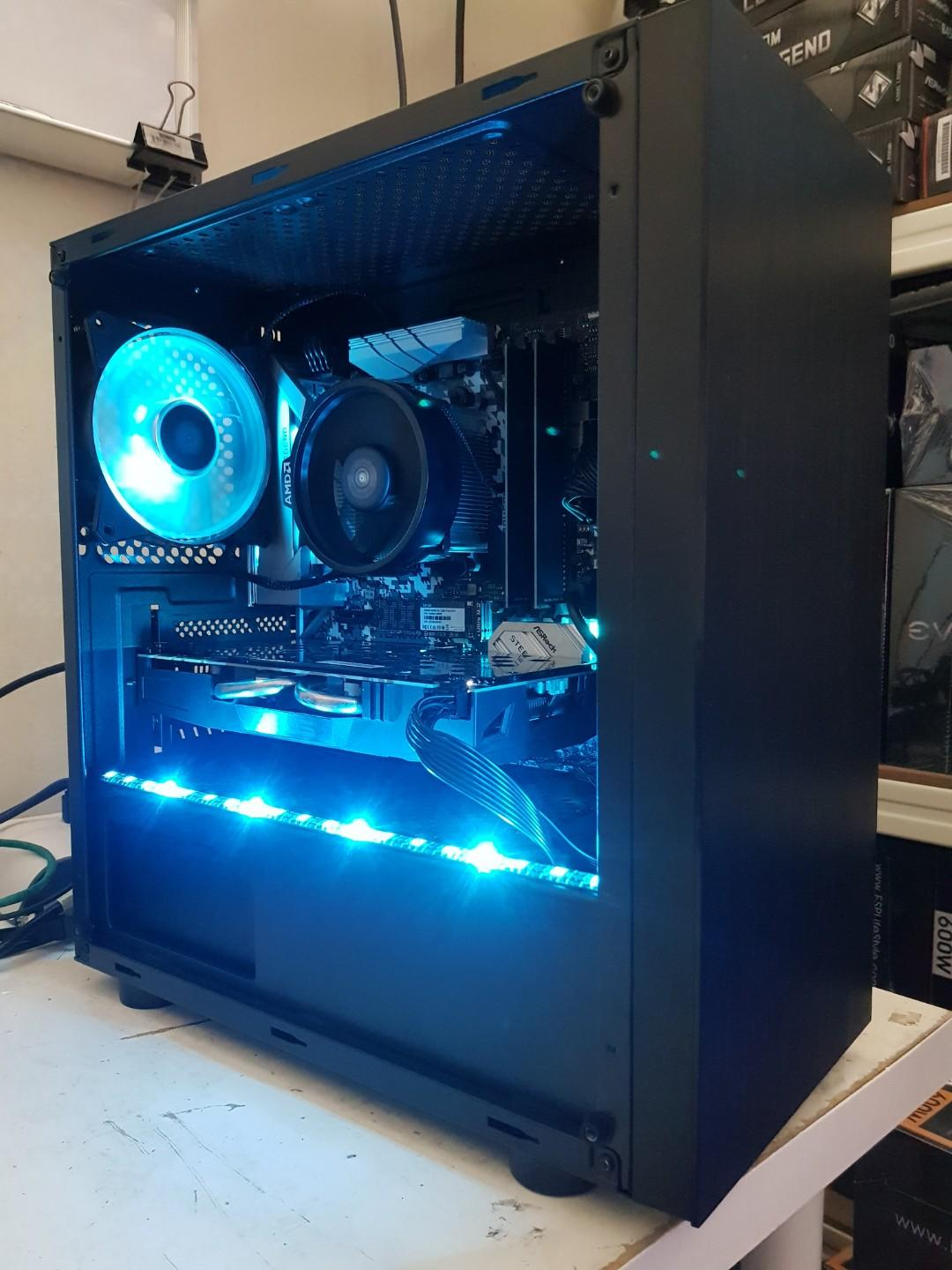 Custom Gaming PC (Ryzen 5 2600X, B450M Steel Legend, 16GB