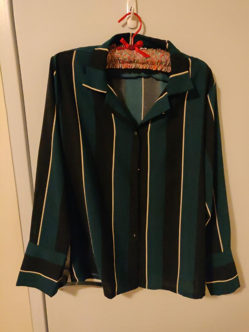 Dark green button up with black and white strips