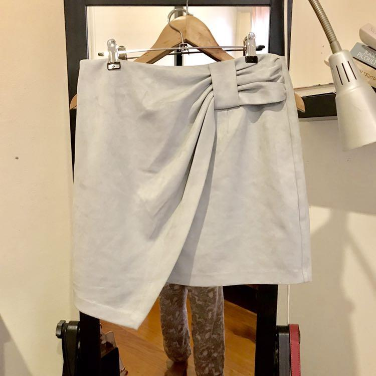 Grey Suede Asymmetrical Skirt with Bow Ruching