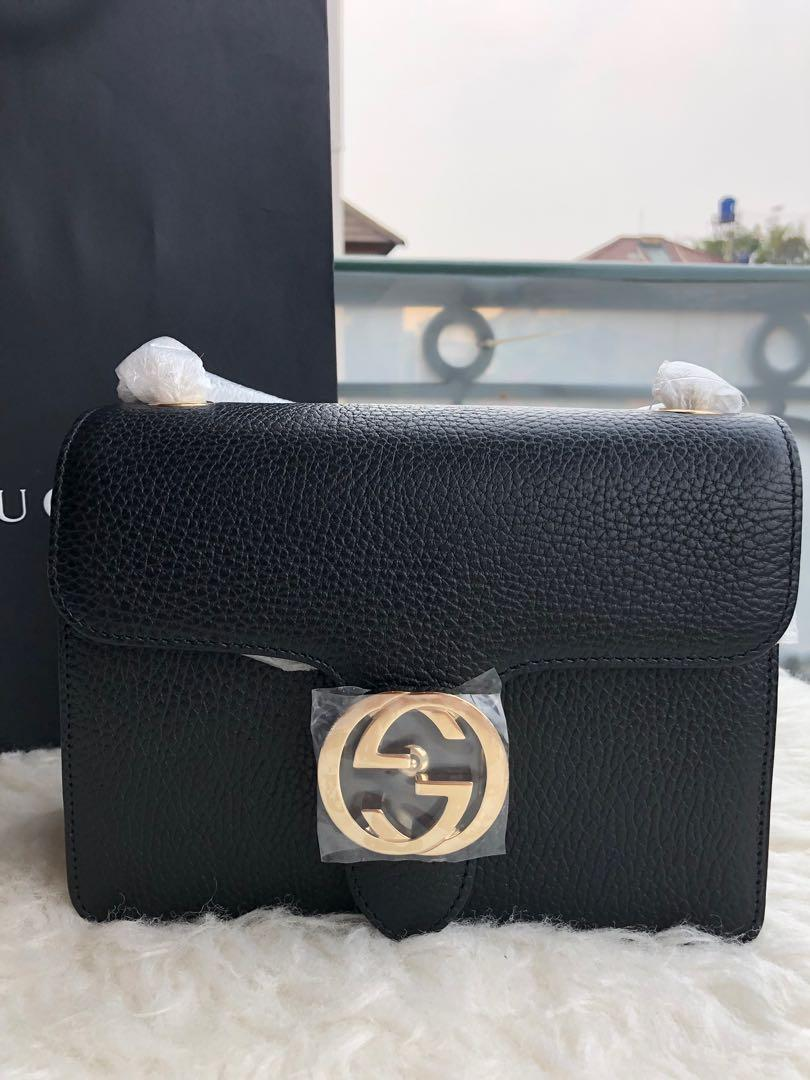 Gucci Black Leather Marmont Interlocking GG Crossbody Bag Authentic