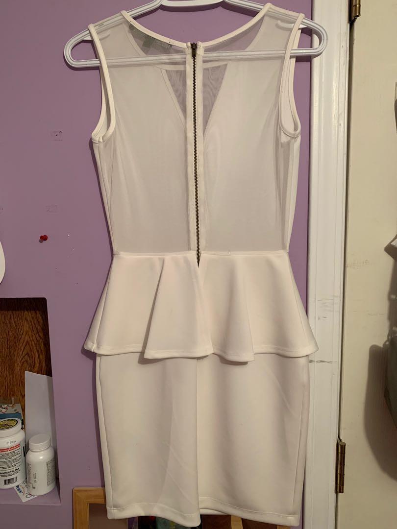 Guess White Zippered Mesh Pencil Skirt Dress (Size S)