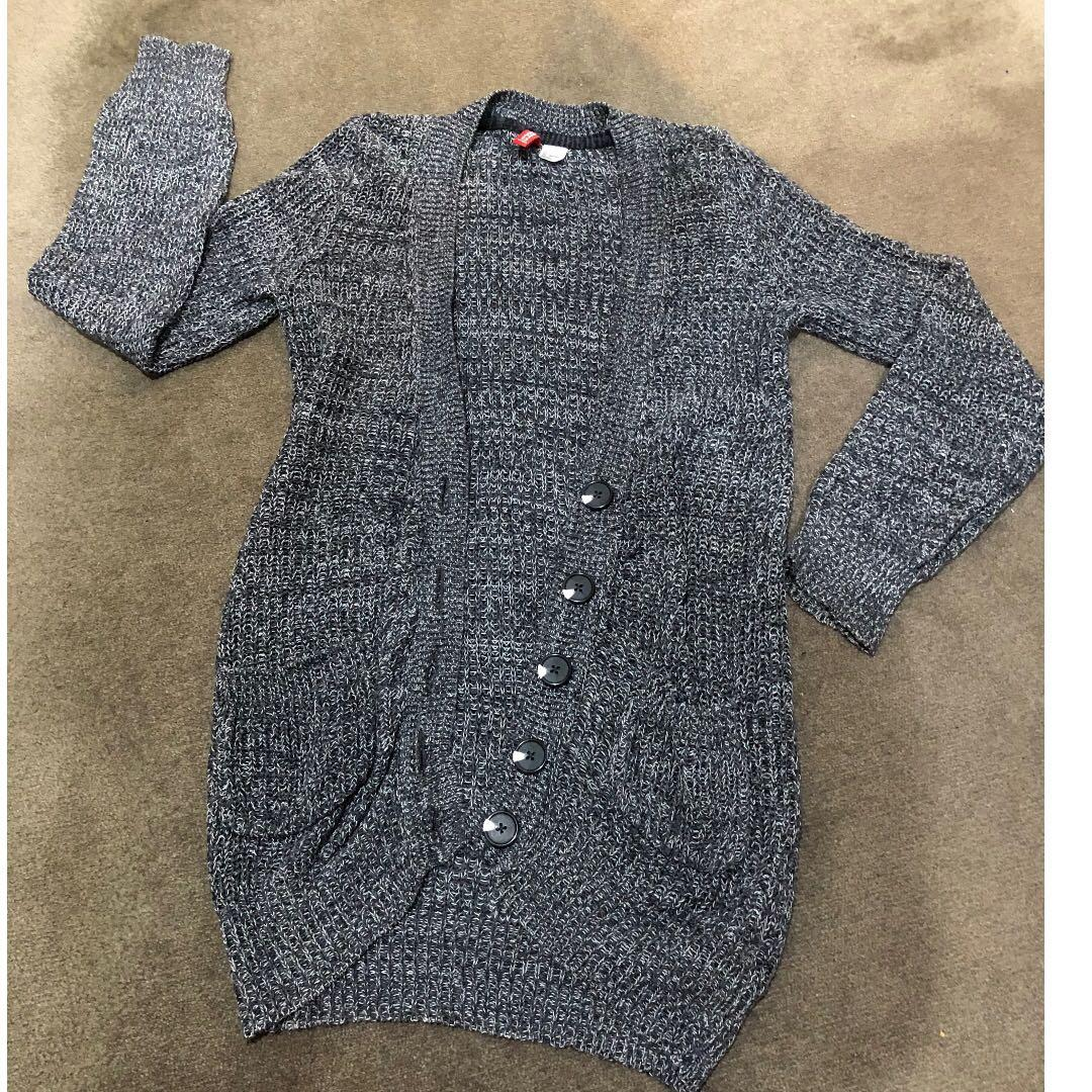 'H & M' Cardigan With Buttons SIZE XS/32 Grey/White