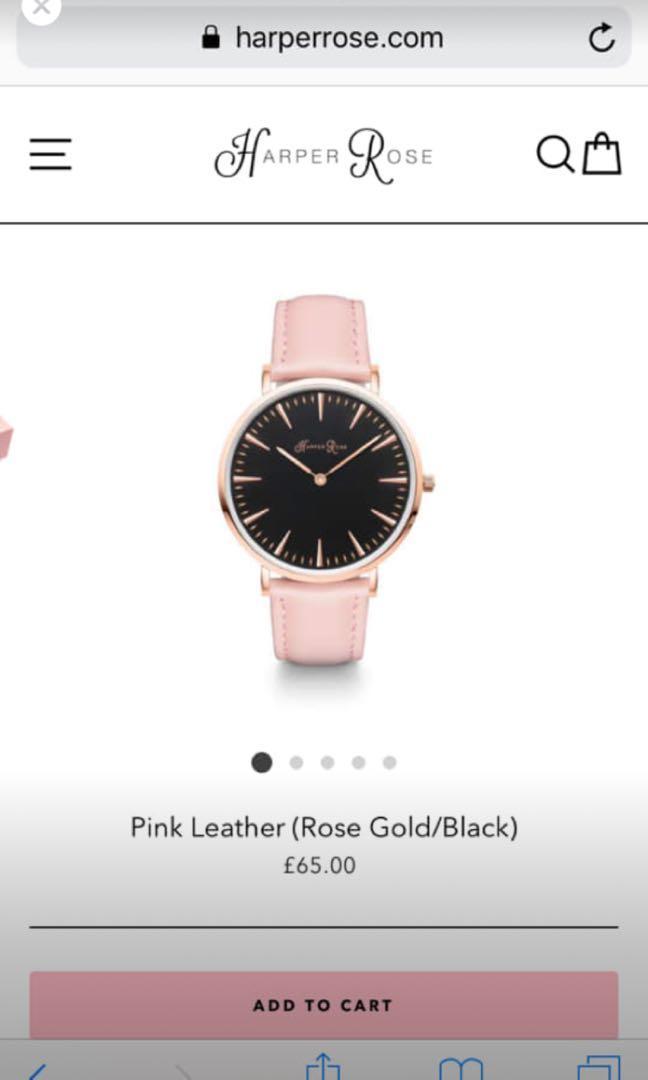 Harper Rose watch (UK BRAND) pink leather rosegold/black (RRP $120aud)