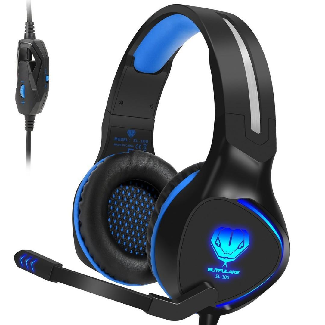 (K106) SL-100 Xbox One (S) PS4 Stereo Gaming Headset Lightweight Blue